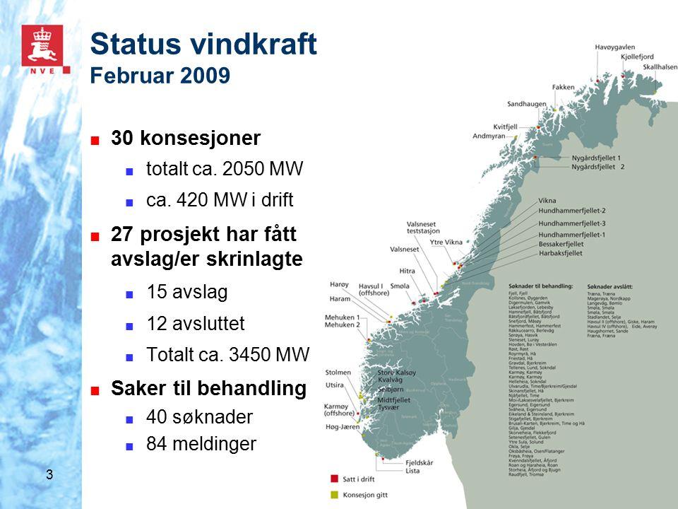14 Oppsummering ■ Prosjekter til behandling: 13 300 MW (14 650 MW) ■ Total vindkraftutbygging i Norge mot 2025: 5 800 MW – 7150 MW ■ Total vindkraftutbyggingen mot 2025 anslås til å være 500 MW i region 3 ■ NVE vil prioritere i saksbehandlingen innenfor åtte regioner og mellom regioner ■ NVE forventer at mange av vindkraftprosjektene som ikke blir prioritert i saksbehandlingen, skrinlegges eller trekkes.
