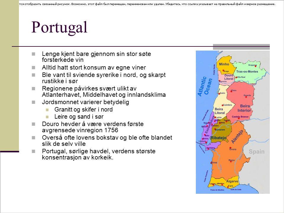 Hoved regioner Douro Beiras (nordlige halvdel som ikke oppfyller kravene til bairrada og dão) Bairrada og Dão Estremadura og Setúbal-halvøya Ribatejo (veldig produktiv, elvebredde) Alentejo ( innenfor Tejo ) Algarve (mer egnet for turisme enn vin)