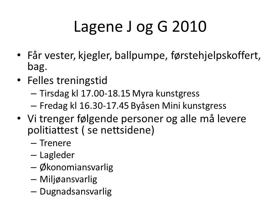 Lagene J og G 2010 Får vester, kjegler, ballpumpe, førstehjelpskoffert, bag.