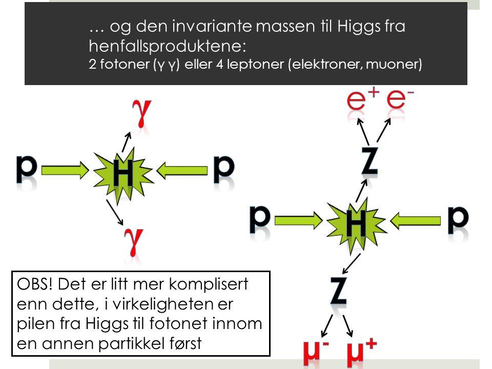 OBS! Det er litt mer komplisert enn dette, i virkeligheten er pilen fra Higgs til fotonet innom en annen partikkel først … og den invariante massen ti