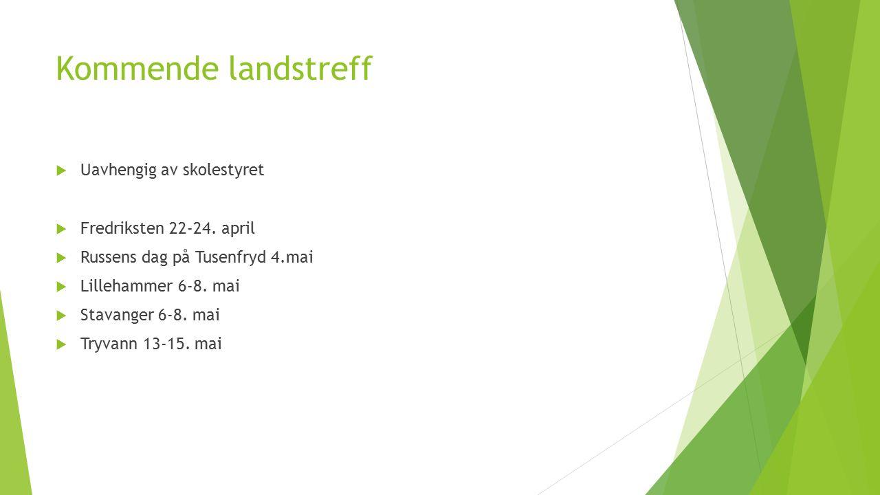 Kommende landstreff  Uavhengig av skolestyret  Fredriksten 22-24.