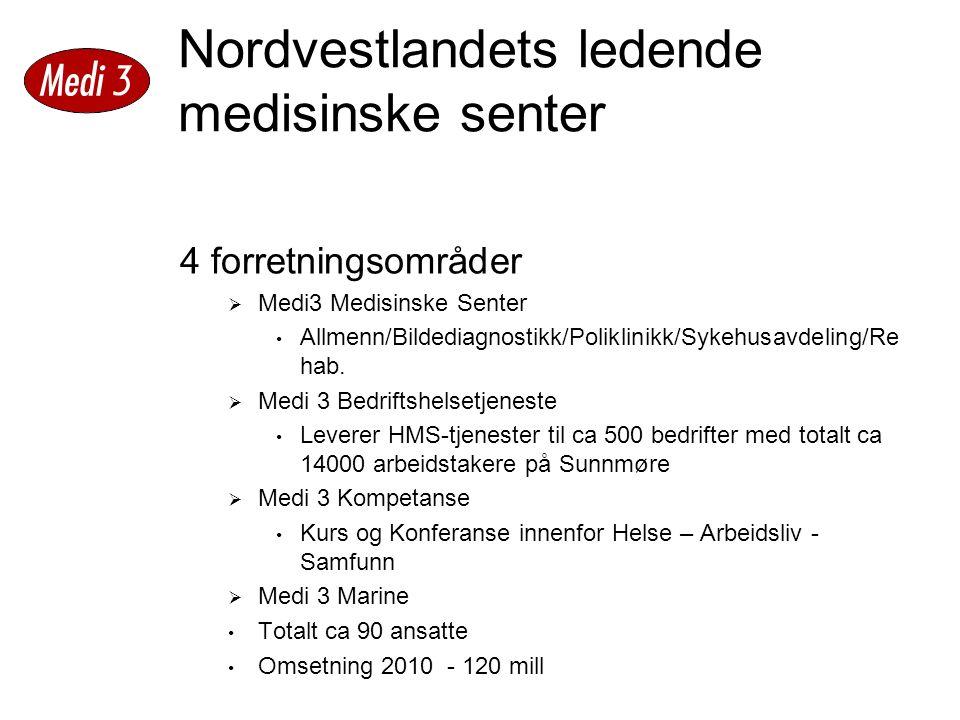 Nordvestlandets ledende medisinske senter 4 forretningsområder  Medi3 Medisinske Senter Allmenn/Bildediagnostikk/Poliklinikk/Sykehusavdeling/Re hab.
