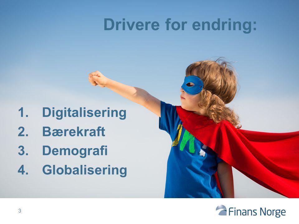 Drivere for endring: 1.Digitalisering 2.Bærekraft 3.Demografi 4.Globalisering 3