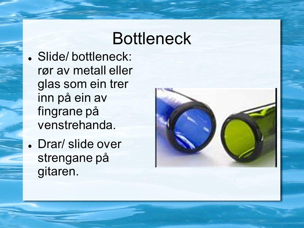 Bottleneck Slide/ bottleneck: rør av metall eller glas som ein trer inn på ein av fingrane på venstrehanda. Drar/ slide over strengane på gitaren.