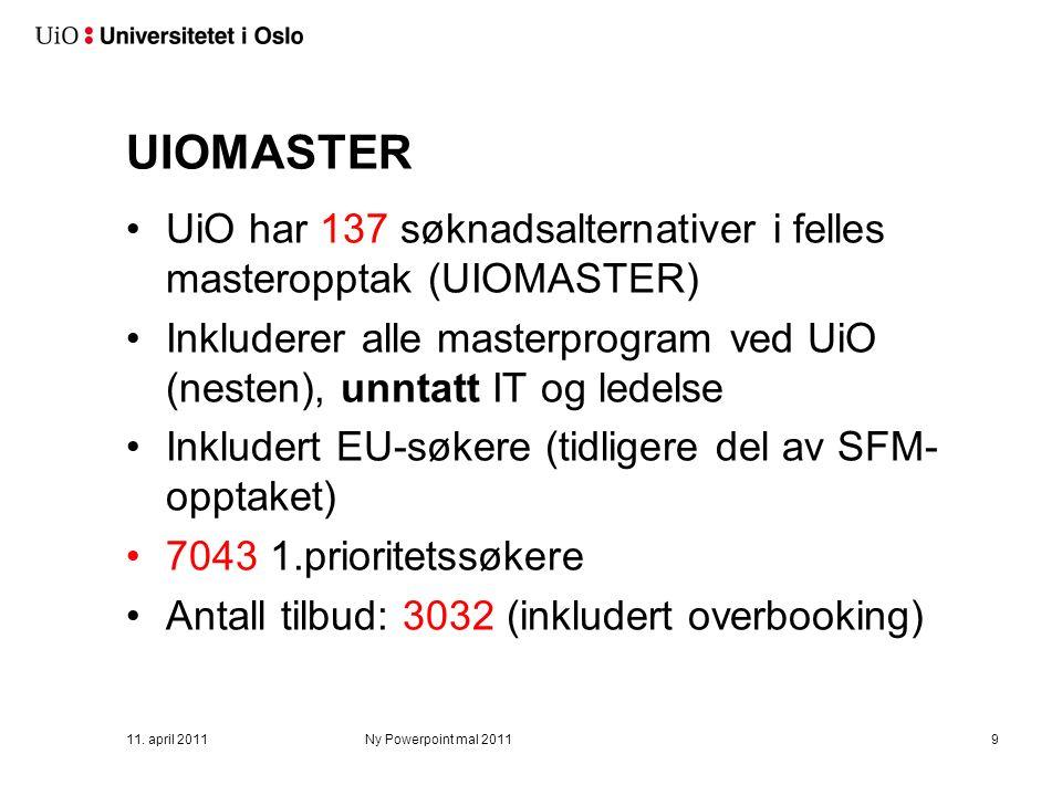 UIOMASTER UiO har 137 søknadsalternativer i felles masteropptak (UIOMASTER) Inkluderer alle masterprogram ved UiO (nesten), unntatt IT og ledelse Inkludert EU-søkere (tidligere del av SFM- opptaket) 7043 1.prioritetssøkere Antall tilbud: 3032 (inkludert overbooking) 11.