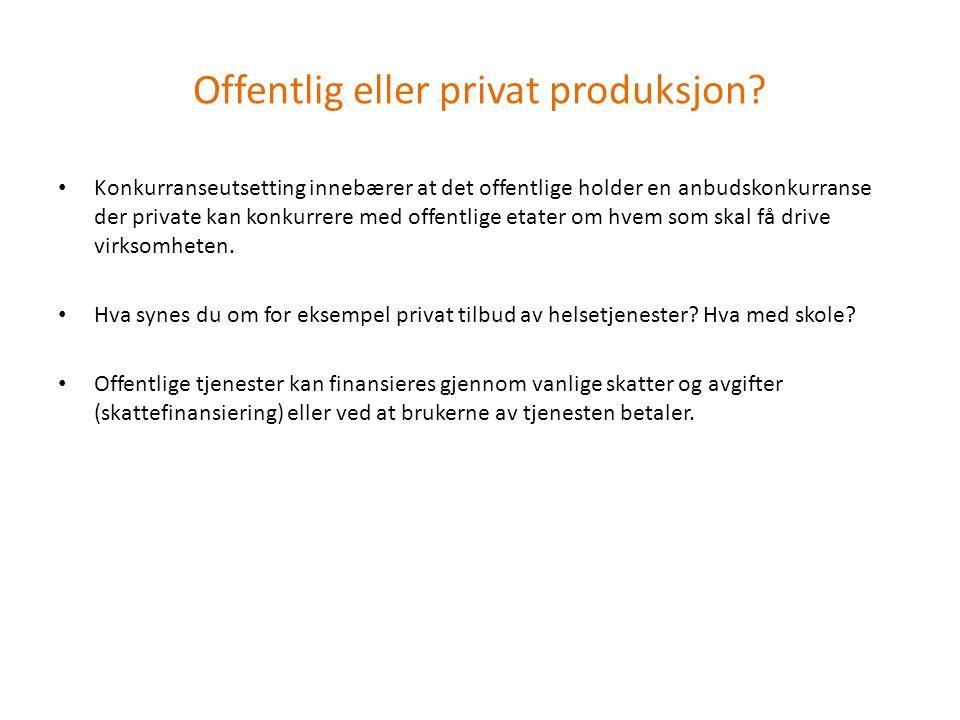 Offentlig eller privat produksjon.