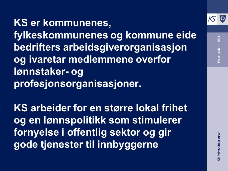 KS Folkevalgtprogram Presentasjon | 2003 KS er kommunenes, fylkeskommunenes og kommune eide bedrifters arbeidsgiverorganisasjon og ivaretar medlemmene overfor lønnstaker- og profesjonsorganisasjoner.