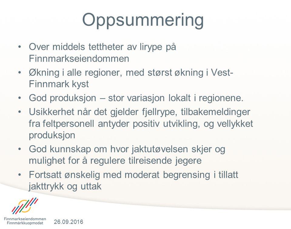 Oppsummering Over middels tettheter av lirype på Finnmarkseiendommen Økning i alle regioner, med størst økning i Vest- Finnmark kyst God produksjon – stor variasjon lokalt i regionene.