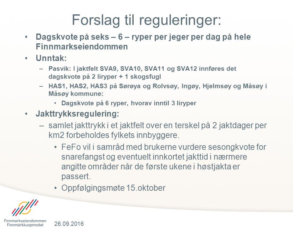 Forslag til reguleringer: Dagskvote på seks – 6 – ryper per jeger per dag på hele Finnmarkseiendommen Unntak: –Pasvik: I jaktfelt SVA9, SVA10, SVA11 og SVA12 innføres det dagskvote på 2 liryper + 1 skogsfugl –HAS1, HAS2, HAS3 på Sørøya og Rolvsøy, Ingøy, Hjelmsøy og Måsøy i Måsøy kommune: Dagskvote på 6 ryper, hvorav inntil 3 liryper Jakttrykksregulering: –samlet jakttrykk i et jaktfelt over en terskel på 2 jaktdager per km2 forbeholdes fylkets innbyggere.