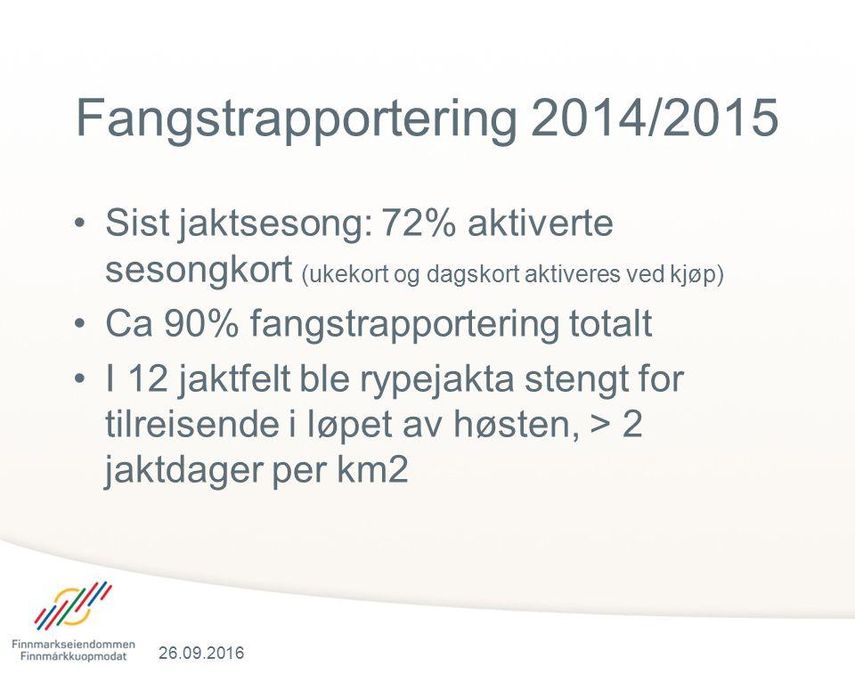 Fangstrapportering 2014/2015 Sist jaktsesong: 72% aktiverte sesongkort (ukekort og dagskort aktiveres ved kjøp) Ca 90% fangstrapportering totalt I 12