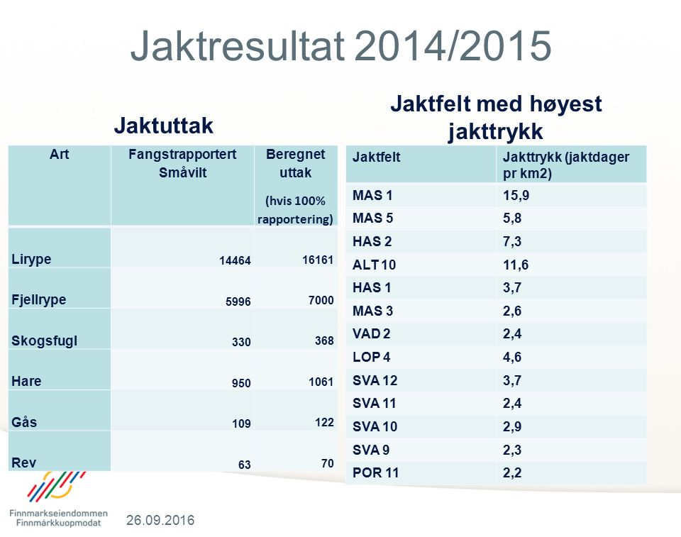 Jaktresultat 2014/2015 Jaktuttak Antall ryper skutt Tabell over jakttrykk Jaktfelt med høyest jakttrykk JaktfeltJakttrykk (jaktdager pr km2) MAS 115,9