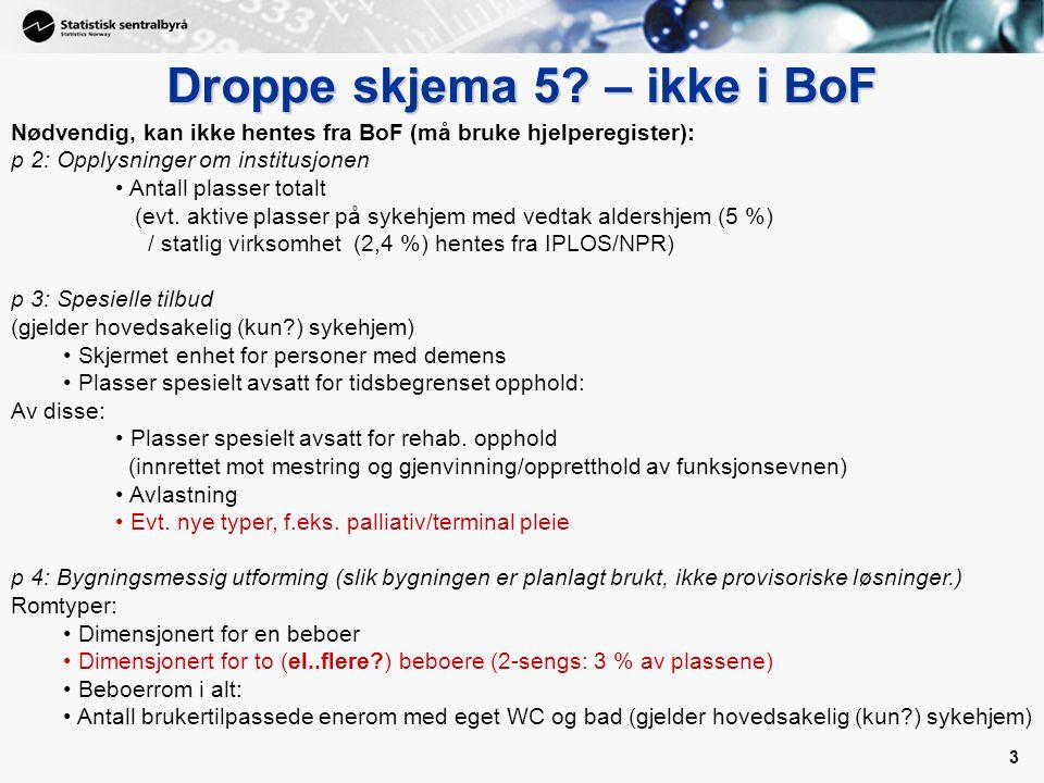 3 3 Droppe skjema 5? – ikke i BoF Nødvendig, kan ikke hentes fra BoF (må bruke hjelperegister): p 2: Opplysninger om institusjonen Antall plasser tota