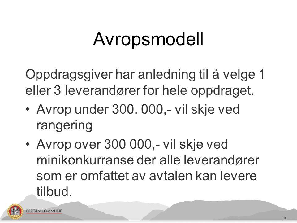 Avropsmodell Oppdragsgiver har anledning til å velge 1 eller 3 leverandører for hele oppdraget.