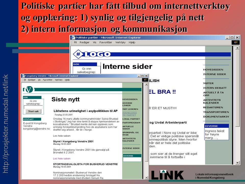 http://prosjekter.numedal.net/link LINK Lokale informasjonsnettverk i Numedal/Kongsberg Politiske partier har fått tilbud om internettverktøy og opplæring: 1) synlig og tilgjengelig på nett 2) intern informasjon og kommunikasjon