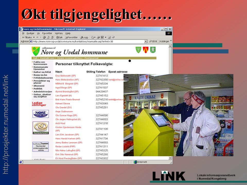 http://prosjekter.numedal.net/link LINK Lokale informasjonsnettverk i Numedal/Kongsberg Økt tilgjengelighet……