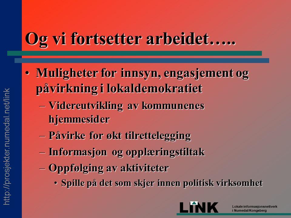 http://prosjekter.numedal.net/link LINK Lokale informasjonsnettverk i Numedal/Kongsberg Og vi fortsetter arbeidet…..