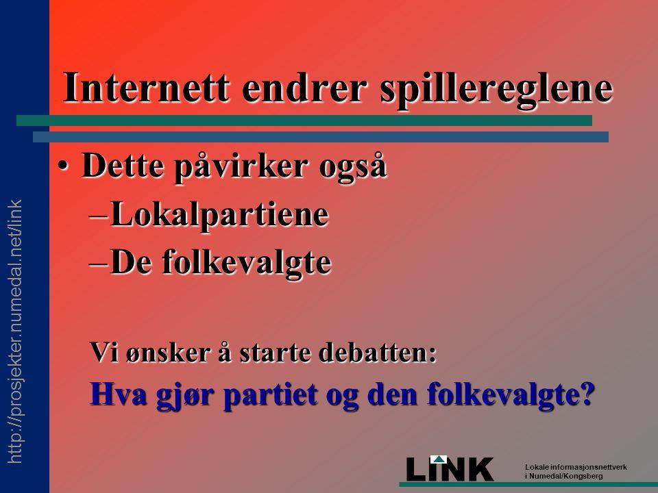 http://prosjekter.numedal.net/link LINK Lokale informasjonsnettverk i Numedal/Kongsberg Internett endrer spillereglene Dette påvirker ogsåDette påvirker også –Lokalpartiene –De folkevalgte Vi ønsker å starte debatten: Hva gjør partiet og den folkevalgte