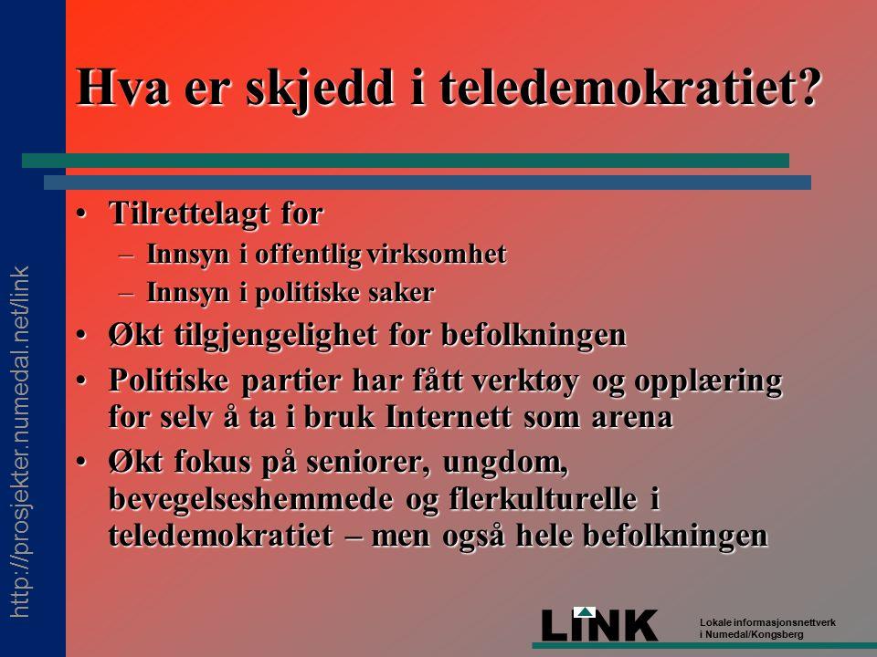 http://prosjekter.numedal.net/link LINK Lokale informasjonsnettverk i Numedal/Kongsberg Hva er skjedd i teledemokratiet.