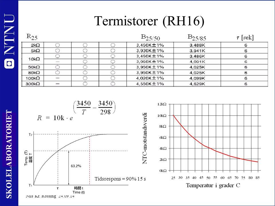 6 SKOLELABORATORIET Nils Kr. Rossing 24.09.14 Termistorer (RH16) Tidsrespons = 90% 15 s