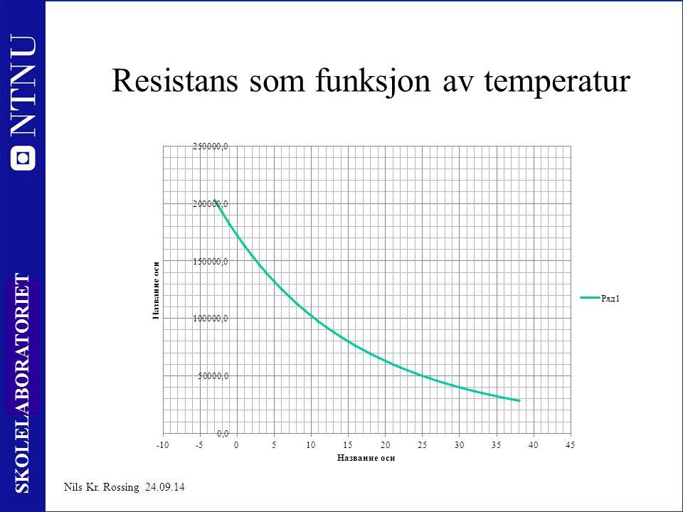8 SKOLELABORATORIET Nils Kr. Rossing 24.09.14 Resistans som funksjon av temperatur