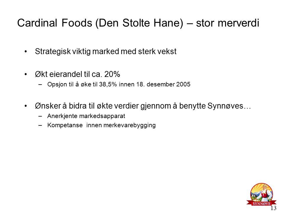 13 Cardinal Foods (Den Stolte Hane) – stor merverdi Strategisk viktig marked med sterk vekst Økt eierandel til ca.
