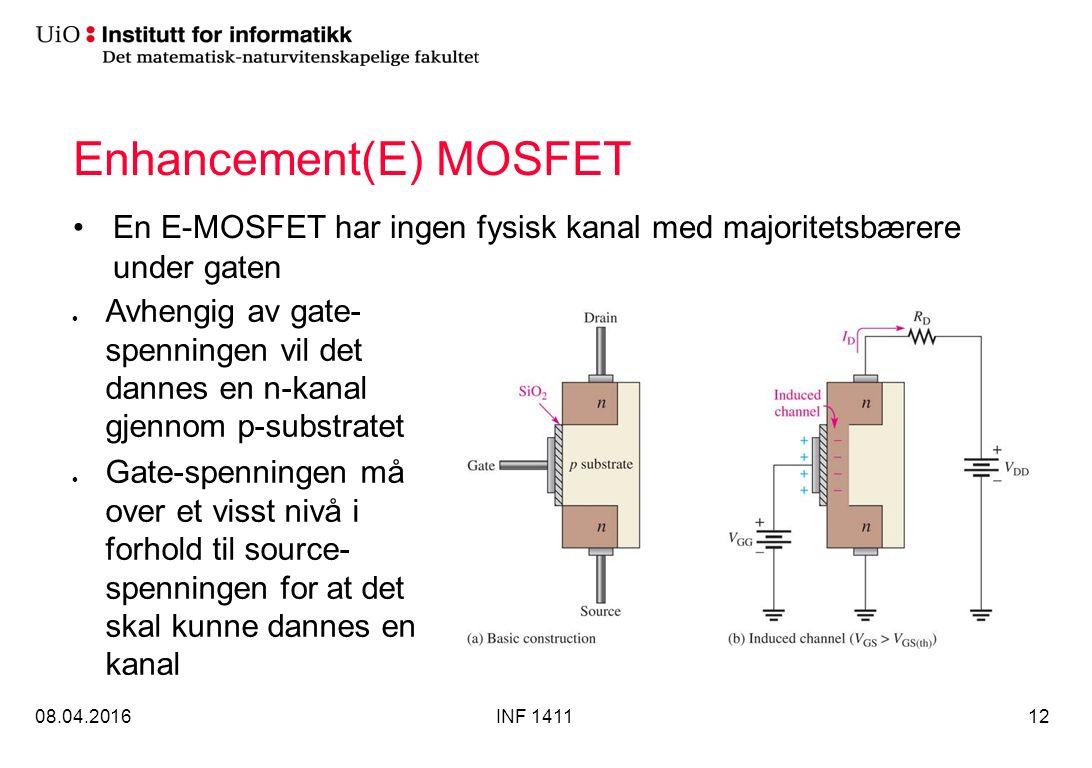 Enhancement(E) MOSFET En E-MOSFET har ingen fysisk kanal med majoritetsbærere under gaten 08.04.2016INF 141112 Avhengig av gate- spenningen vil det dannes en n-kanal gjennom p-substratet Gate-spenningen må over et visst nivå i forhold til source- spenningen for at det skal kunne dannes en kanal