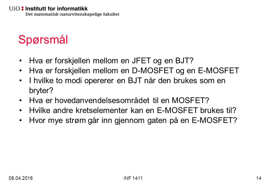 Spørsmål Hva er forskjellen mellom en JFET og en BJT.