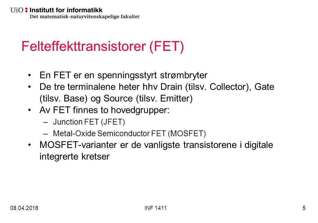 Felteffekttransistorer (FET) En FET er en spenningsstyrt strømbryter De tre terminalene heter hhv Drain (tilsv.