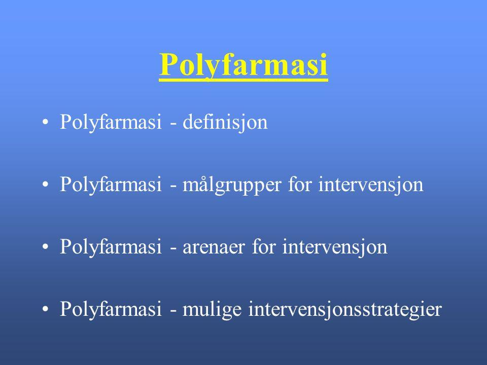 Polyfarmasi Polyfarmasi - definisjon Polyfarmasi - målgrupper for intervensjon Polyfarmasi - arenaer for intervensjon Polyfarmasi - mulige intervensjonsstrategier