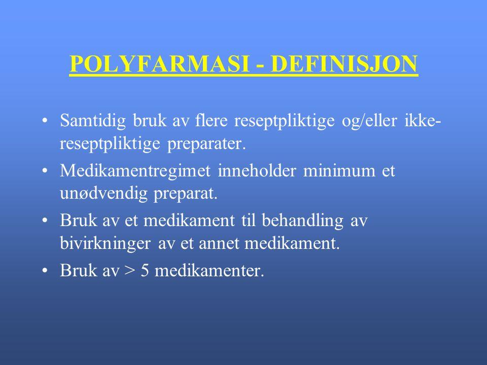 POLYFARMASI - DEFINISJON Samtidig bruk av flere reseptpliktige og/eller ikke- reseptpliktige preparater.