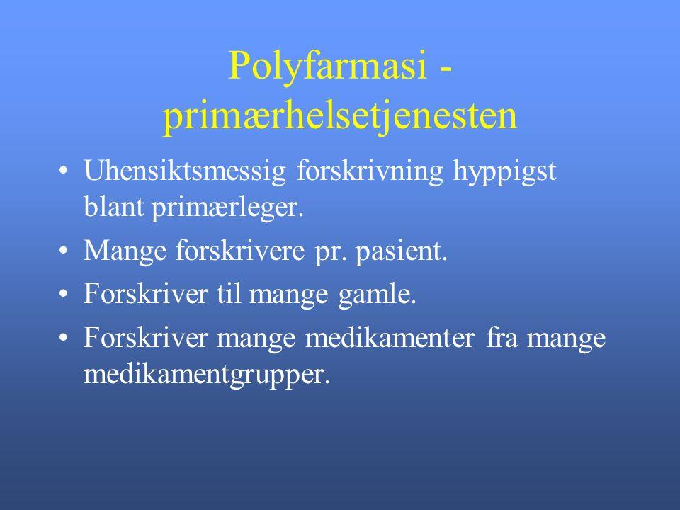 Polyfarmasi - primærhelsetjenesten Uhensiktsmessig forskrivning hyppigst blant primærleger.
