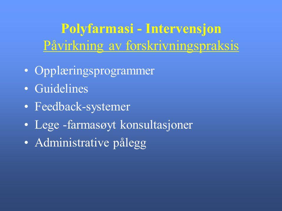Polyfarmasi - Intervensjon Påvirkning av forskrivningspraksis Opplæringsprogrammer Guidelines Feedback-systemer Lege -farmasøyt konsultasjoner Administrative pålegg