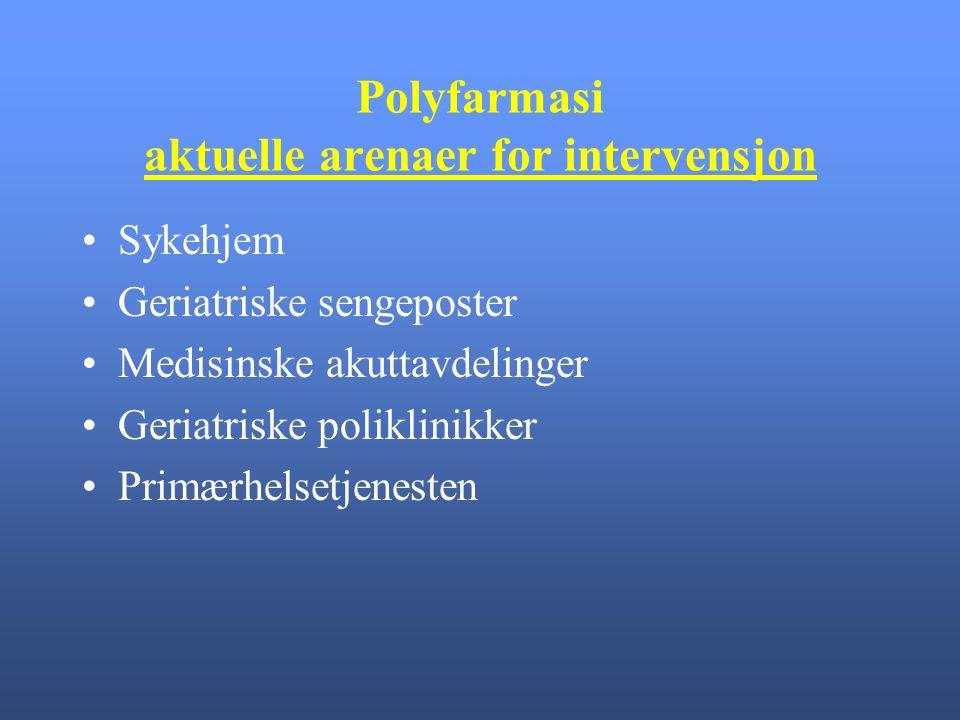 Polyfarmasi aktuelle arenaer for intervensjon Sykehjem Geriatriske sengeposter Medisinske akuttavdelinger Geriatriske poliklinikker Primærhelsetjenesten