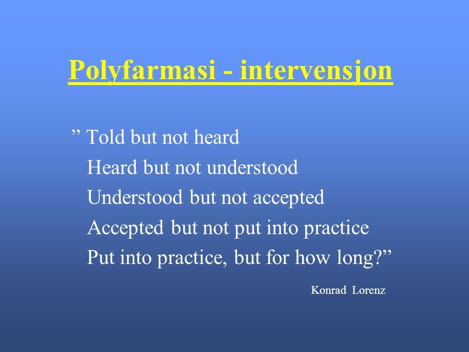 Polyfarmasi - intervensjon Told but not heard Heard but not understood Understood but not accepted Accepted but not put into practice Put into practice, but for how long Konrad Lorenz