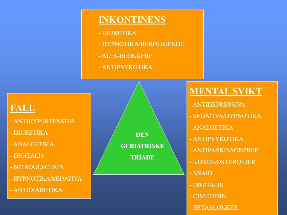 INKONTINENS - DIURETIKA - HYPNOTIKA/BEROLIGENDE - ALFA-BLOKKERE - ANTIPSYKOTIKA FALL - ANTIHYPERTENSIVA - DIURETIKA - ANALGETIKA - DIGITALIS - NITROGLYCERIN - HYPNOTIKA/SEDATIVA - ANTIDIABETIKA MENTAL SVIKT - ANTIDEPRESSIVA - SEDATIVA/HYPNOTIKA - ANALGETIKA - ANTIPSYKOTIKA - ANTIPARKINSONPREP.