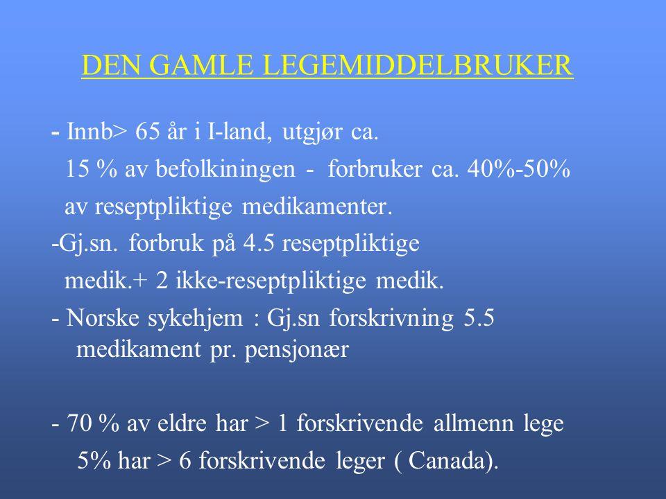 DEN GAMLE LEGEMIDDELBRUKER - Innb> 65 år i I-land, utgjør ca.