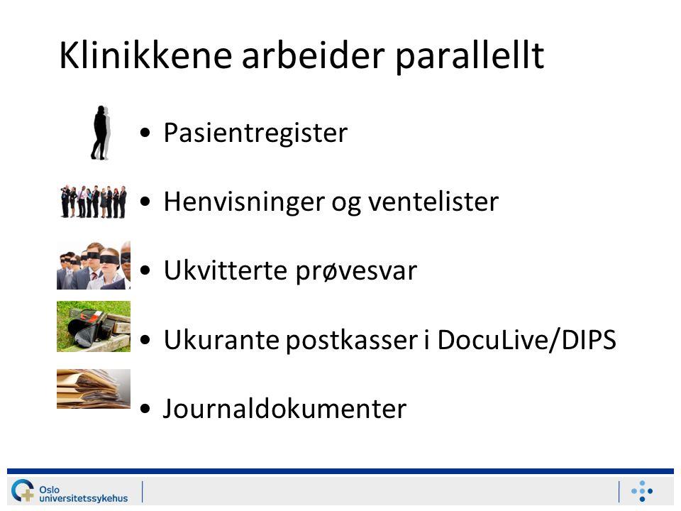 Klinikkene arbeider parallellt Pasientregister Henvisninger og ventelister Ukvitterte prøvesvar Ukurante postkasser i DocuLive/DIPS Journaldokumenter