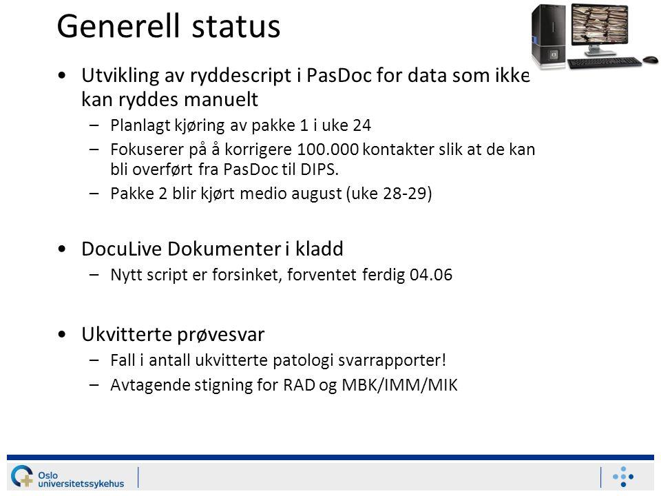 Generell status Utvikling av ryddescript i PasDoc for data som ikke kan ryddes manuelt –Planlagt kjøring av pakke 1 i uke 24 –Fokuserer på å korrigere 100.000 kontakter slik at de kan bli overført fra PasDoc til DIPS.