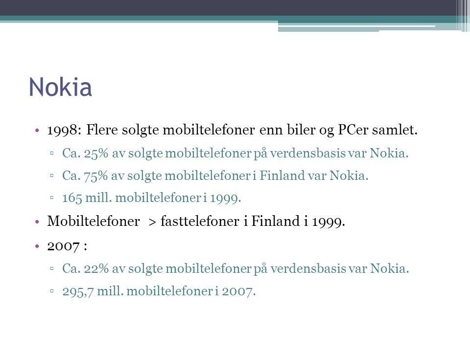 Nokia 1998: Flere solgte mobiltelefoner enn biler og PCer samlet.