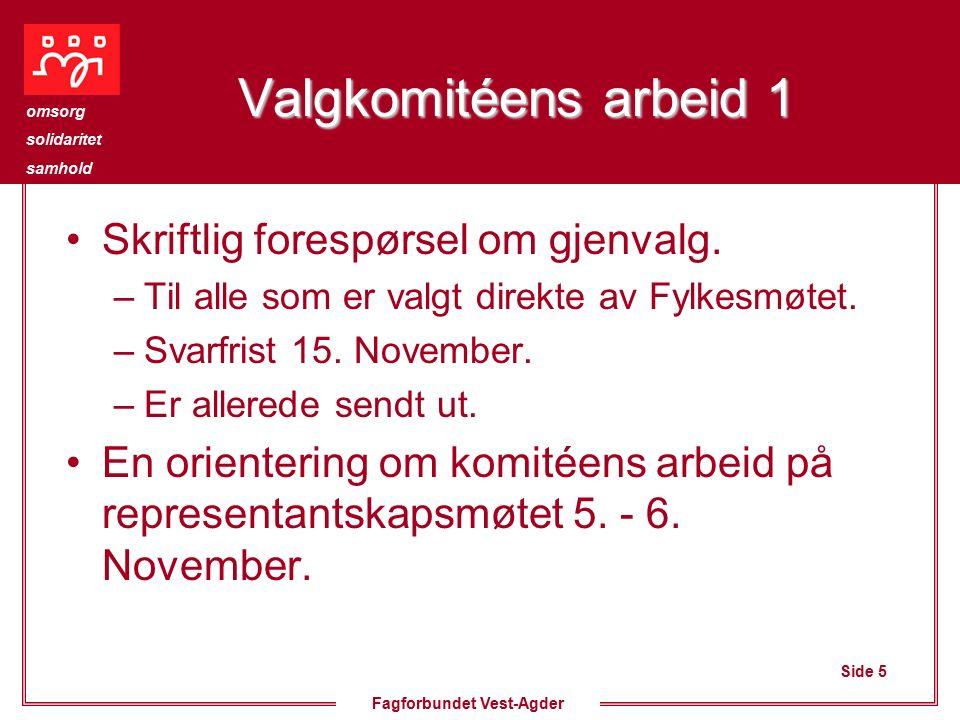 Side 5 omsorg solidaritet samhold Fagforbundet Vest-Agder Valgkomitéens arbeid 1 Skriftlig forespørsel om gjenvalg.