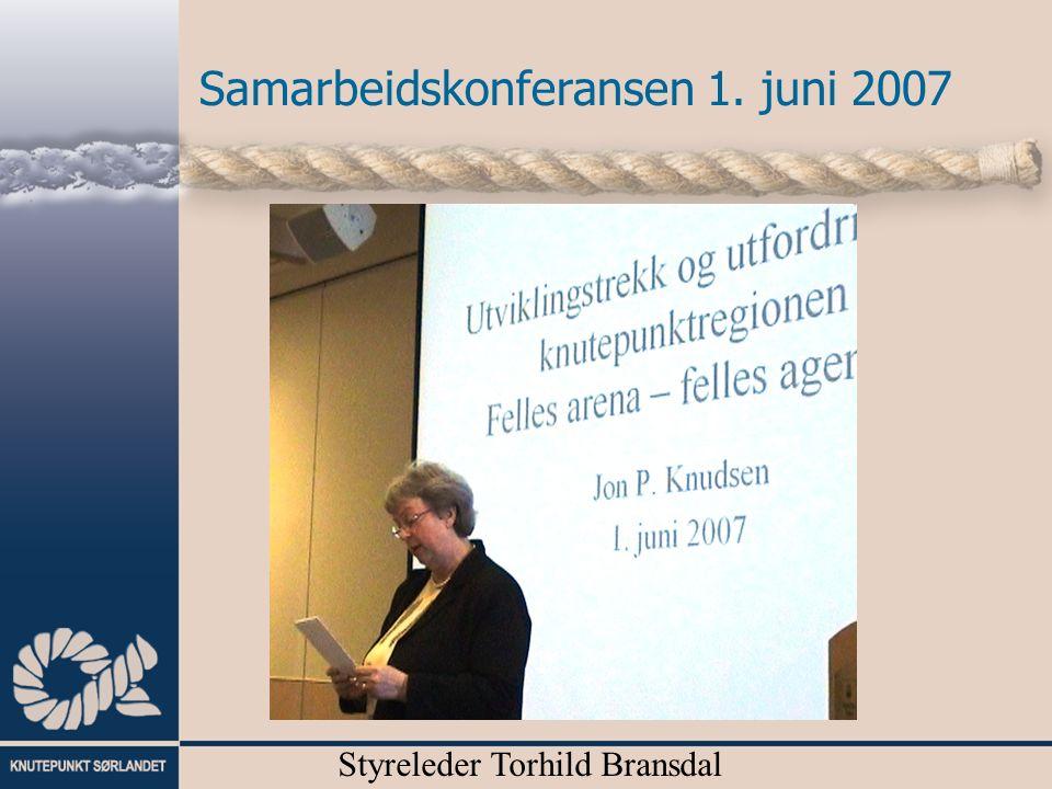 Samarbeidskonferansen 1. juni 2007 Fylkesrådmann Tine Sundtoft