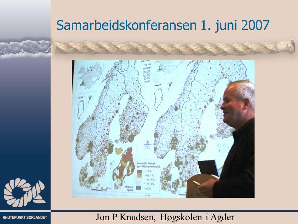 Samarbeidskonferansen 1. juni 2007 Jon P Knudsen, Høgskolen i Agder
