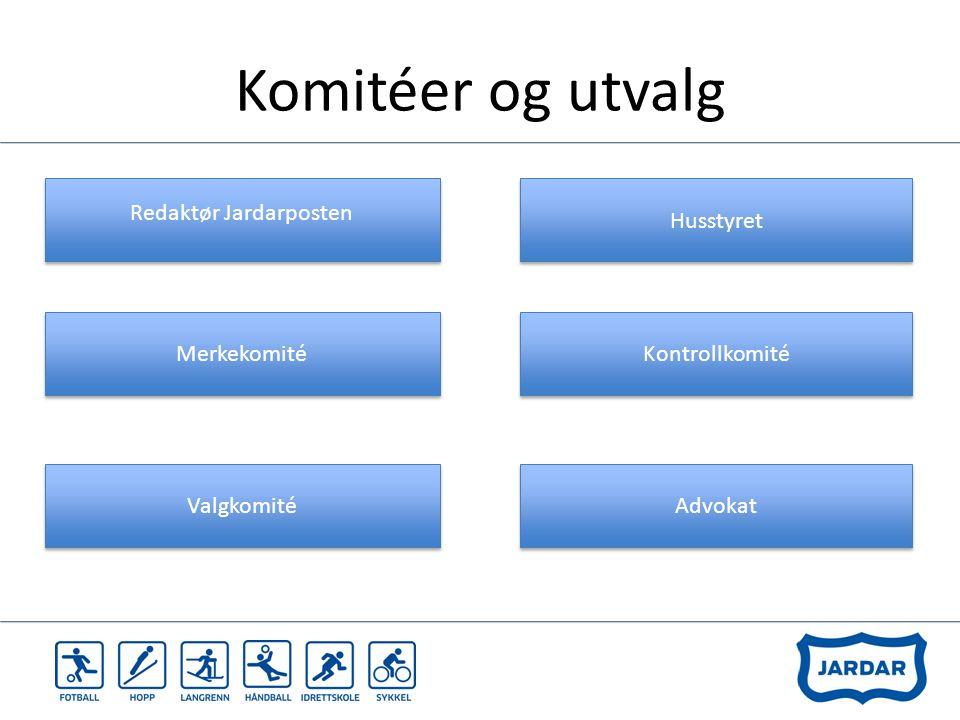 Komitéer og utvalg Redaktør Jardarposten Merkekomité Valgkomité Husstyret Kontrollkomité Advokat