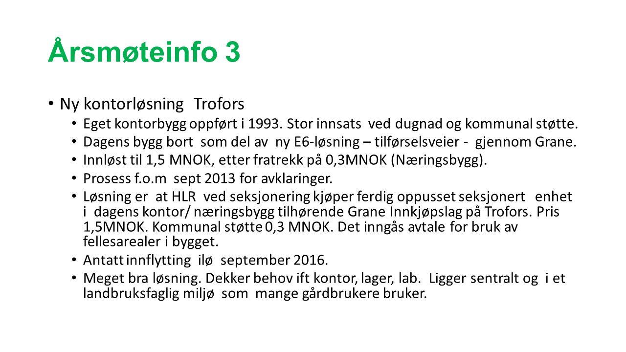 Årsmøteinfo 3 Ny kontorløsning Trofors Eget kontorbygg oppført i 1993. Stor innsats ved dugnad og kommunal støtte. Dagens bygg bort som del av ny E6-l