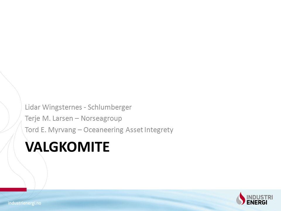 VALGKOMITE Lidar Wingsternes - Schlumberger Terje M. Larsen – Norseagroup Tord E. Myrvang – Oceaneering Asset Integrety