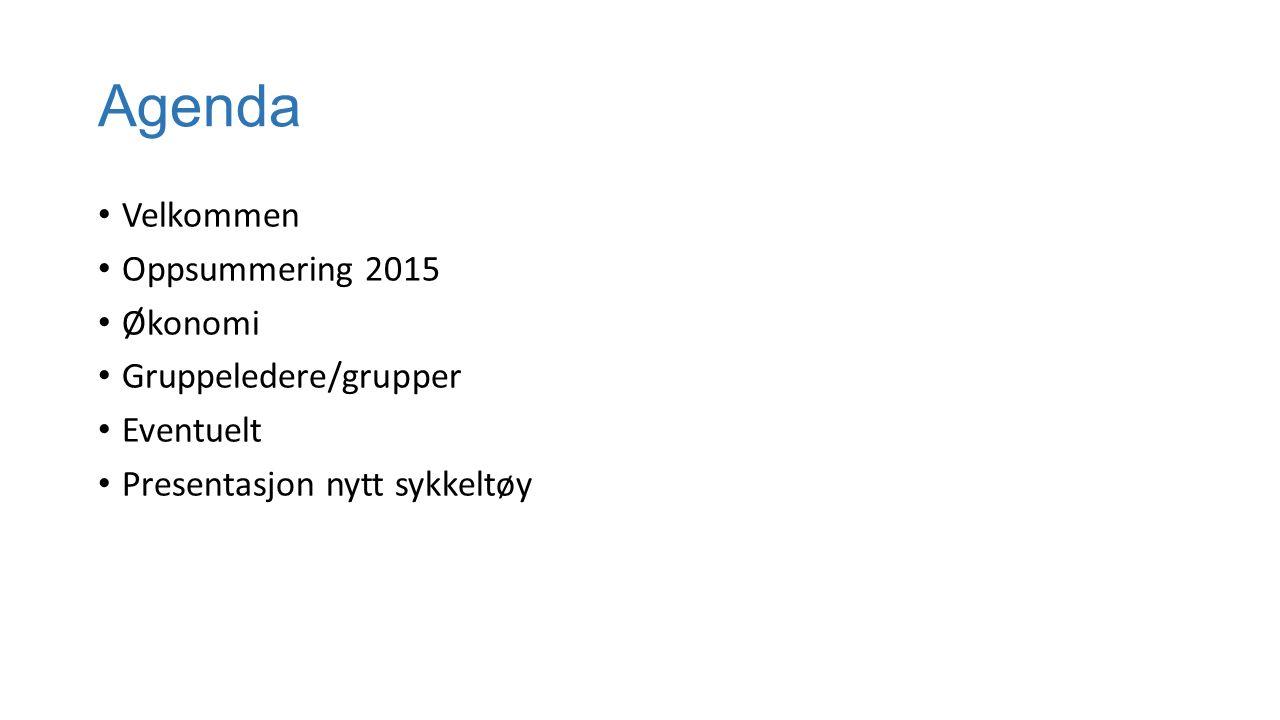 Agenda Velkommen Oppsummering 2015 Økonomi Gruppeledere/grupper Eventuelt Presentasjon nytt sykkeltøy