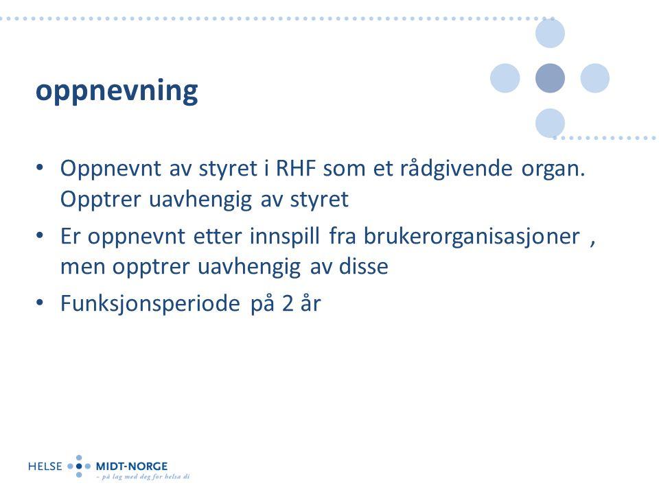 oppnevning Oppnevnt av styret i RHF som et rådgivende organ.