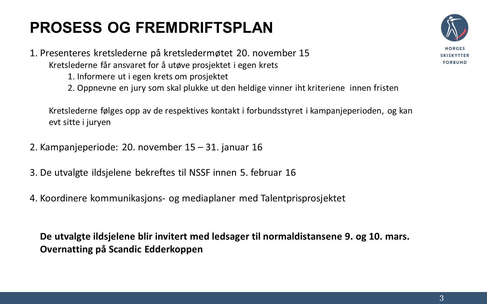PROSESS OG FREMDRIFTSPLAN 1.Presenteres kretslederne på kretsledermøtet 20. november 15 Kretslederne får ansvaret for å utøve prosjektet i egen krets