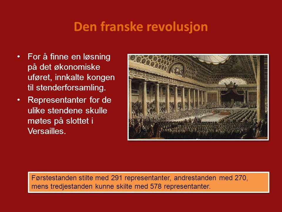Den franske revolusjon For å finne en løsning på det økonomiske uføret, innkalte kongen til stenderforsamling. Representanter for de ulike stendene sk