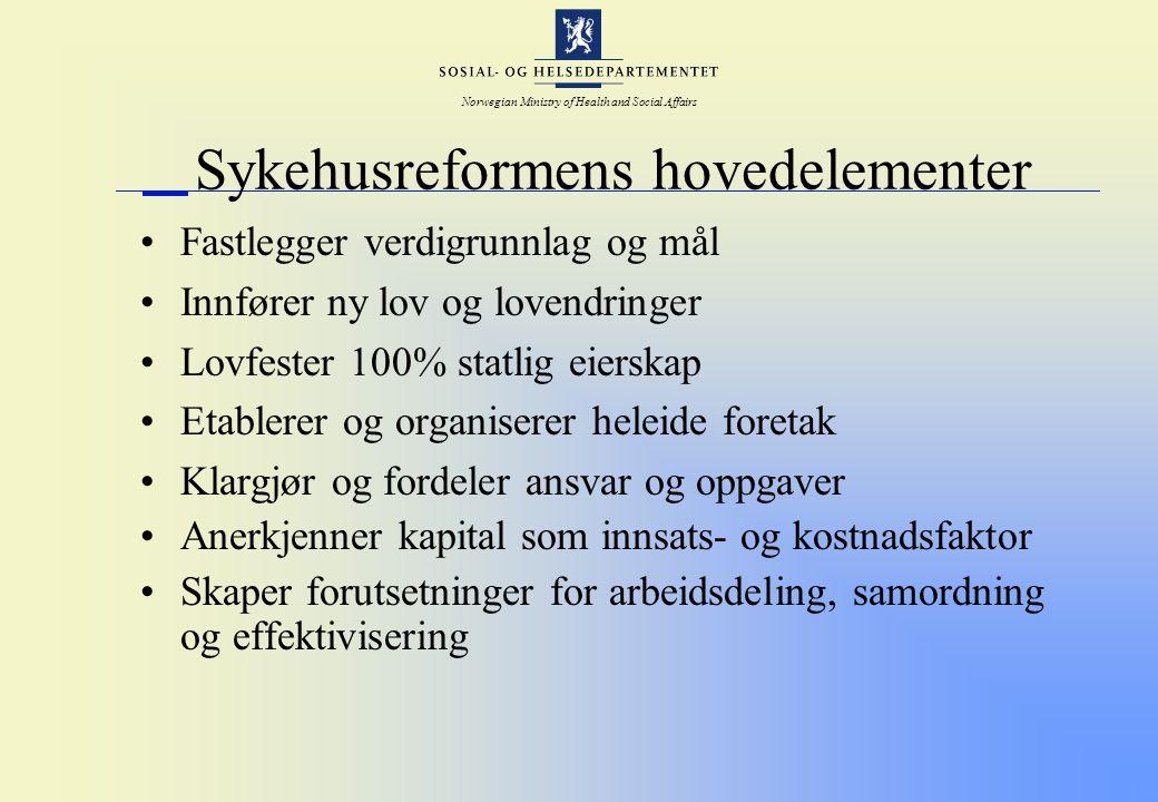 Norwegian Ministry of Health and Social Affairs Sykehusreformens hovedelementer Fastlegger verdigrunnlag og mål Innfører ny lov og lovendringer Lovfes